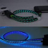 편평한 디자인 TPE 물자 LED 섬광 USB 충전기 데이터 Sync 케이블