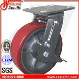 Hochleistungsroheisen PU-örtlich festgelegte Fußrolle mit seitlicher Bremse