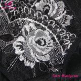 Alta elevación Panty del tope de la cintura de la impresión negra translúcida floral de Rose