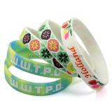 Logotipo de impressão personalizado personalizada bracelete de borracha de silicone