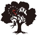 Reloj de pared negro plástico del árbol para la decoración casera
