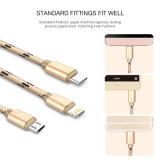 3 en 1 câble pour l'iPhone 7 6 type micro caractéristique du câble androïde USB du nylon USB 3in1 de l'expert en logiciel 6s 5 5s de C 3in1 USB C jeûnent chargeant 120cm
