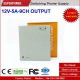 alimentazione elettrica di commutazione della macchina fotografica del CCTV dell'uscita di 12V 5A 9CH