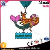 Piccola medaglia di nuoto del metallo della sirena di marchio caldo di vendita 3D