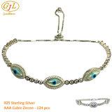 Оптовые украшения браслет с цветным AAA ЦИРКОН 925 серебристые европейского браслет
