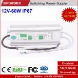 Fuente de alimentación impermeable constante de la conmutación del voltaje 12V 60W LED IP67