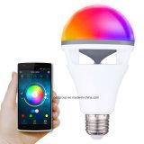 2017 luces de bulbo elegantes del globo del altavoz LED de Bluetooth del nuevo diseño con control del APP