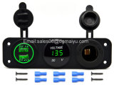 Triple Función Dual USB Charger + LED del voltímetro + 12V Enchufe de corriente Socket Panel de enchufes para el coche marina del barco dispositivos digitales tableta del teléfono móvil (LED azul)