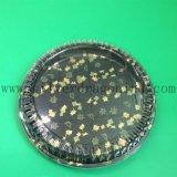 Поднос суш 6 отсеков круглый флористический напечатанный устранимый пластичный