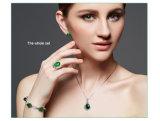 고대 녹색 비취 심혼 펜던트 925 순은 자연적인 원석 포도 수확 후작 모양 목걸이