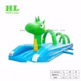 아이를 위한 긴 노란과 녹색 팽창식 물 미끄럼