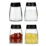 180ml Hot vender vaso de sal de especiarias de vidro com tampa de plástico PP duplo