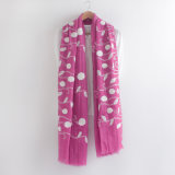 Floral Bordado Moda Cotton Voile Lady Scarf (YKY1155)