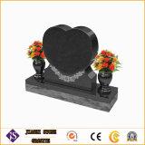 Headstone e monumento a forma di cuore del granito del nero di prezzi bassi