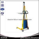 Tipo claro empilhador Semi-Elétrico da capacidade 100-150kg da pálete da mão