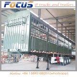 Le bétail triple de l'essieu 40t-60t transporte le type remorque de frontière de sécurité de col de cygne de camion de pieu semi