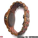 Sandalwood vermelho Top-Quality e relógios de madeira pretos Hl01 de quartzo