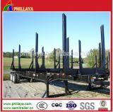 半3axle 40tonの平面材木の孤立したログ木トレーラー