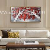 Rote Blattaspen-Baum-Landschaftspaletten-Messer-Ölgemälde