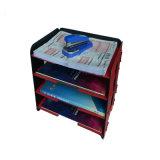 Cremalheira de madeira do arquivo dos artigos de papelaria Desktop DIY 3layers