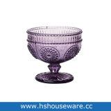 Vintage Flower Embossed Glass Footed Serves Bowl