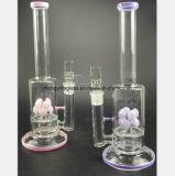 Conduite d'eau en verre de fleur de tabac rose et pourpré de filtre