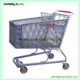 Preço baixo do supermercado estilo americano carrinhos de compras de zinco