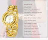 Horloges van de Juwelen van de Batterij van het Kwarts van de Riem van de Armband van het Toestel van de Schijf van het Luxueuze van de Dames van Belbi Polshorloge van het Staal de Dubbele Kant maan-Gevormde voor Vrouwen