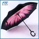 Изготовленный на заказ зонтик обратного способа ручки c печатание