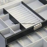 Lock&Keys黒いの巨大な多機能の革宝石箱