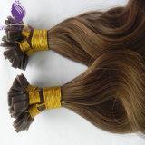 Estensione piana dei capelli umani di Remy di punta di colore ondulato del Brown del corpo #8