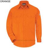 Chemise d'uniforme des vêtements de travail des hommes bon marché de qualité des couleurs pure occasionnelle