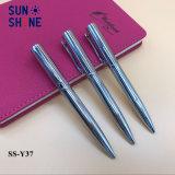 Le meilleur stylo à bille argenté de luxe de vente en métal de crayon lecteur lisse en métal