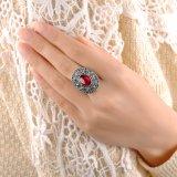 Anillo femenino Aleación-Hecho con la manera retra cristalina de piedra roja