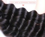 Человеческих волос волны закрытия шнурка девственницы сбывания фабрики уток черных волос свободных глубоких индийских естественный