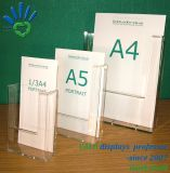 A5 Menu acrylique Brochure Support d'enseigne du statif