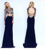 Состоящий из двух частей Crop-Top вечер рельефная платье долго Prom платье порванный жгут длинной втулки платья