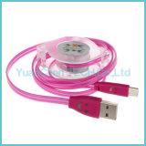Luminoso de carga retráctil de cable de datos micro USB para el teléfono Android
