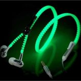 3,5mm Glow in The Dark Zipper Headphones com microfone de microfone