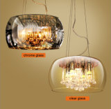 크롬에 있는 조정가능한 거는 고도를 가진 펀던트 가벼운 램프 점화를 거는 현대 식당 유리