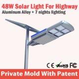 Luz de rua solar toda do poder superior 48W novo em um rádio da iluminação da estrada
