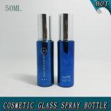 prezzo di vetro cosmetico blu della bottiglia dello spruzzo della pompa del cilindro 50ml