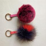 中国の工場偽造品の柔らかい毛皮の球のキーホルダーののどの毛皮のキーホルダー
