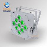 Rashaの専門の白いケースIrc 9*18W 6in1 Rgabwの紫外線電池式の無線電信LEDの同価ライト7/12CH