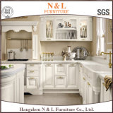 カスタム白いカラーホーム家具の純木の食器棚