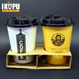 El papel impreso el logotipo de desechables portador de taza de café con asa