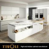 A laca branca à moda que mistura gabinetes de cozinha de madeira do folheado com o quartzo cobre Tivo-0010V