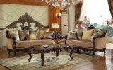 Gewebe-Wohnzimmer-Sofa-amerikanische antike Couch u. Stuhl mit geschnitzter hölzerner Ordnung