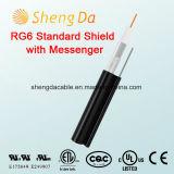 Blindaje estándar RG6 con el cable coaxial al aire libre del audio del RCA del mensajero