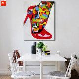 Nouvelle peinture à l'huile de toile de mode moderne à talons hauts